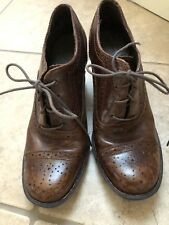 BORN Brown Leather High Heeled Lace Up Oxford Shoes - Size 9M