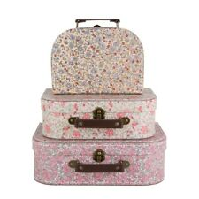 Set of 3 Mini Suitcases Stacking Storage Boxes Vintage Floral Sass & Belle