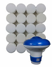 Chlorine Bromine Dispenser and 20 Tablets for Spas, Hot Tubs, Swimming Pools