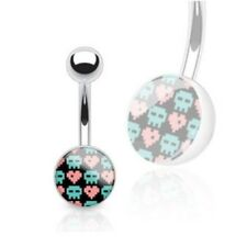 Belly Ring Button Piercing Jewelry B643 Cute Pixelated Skulls & Hearts Navel