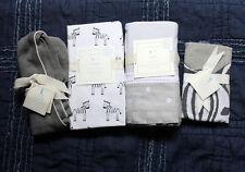 POTTERY BARN KIDS Zachary Zebra crib fitted sheet sham Skirt blanket 4pc gray