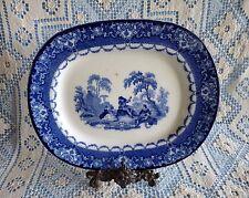 "Royal DOULTON Burslem ""WATTEAU"" Serenade 13"" FLOW BLUE Serving Meat Platter TRAY"