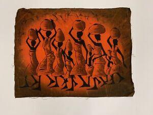 "African Batik Wax Cloth Painting Women Carrying Jugs 21"" X 27.5"" Vibrant Orange"