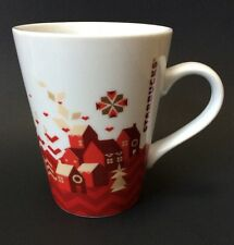 11 Oz Starbucks Coffee Mug Cup Christmas Red White Houses Village Holiday