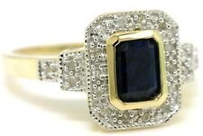 Sapphire 20 Diamond 9ct Solid Gold Antique Style Ring, SZ N/7.0 - 30 Day Returns
