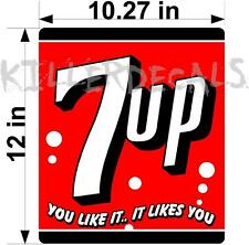 """7UP-406 12/"""" /""""7UP AND HAND/"""" COCA COLA PEPSI COOLER POP DECAL"""