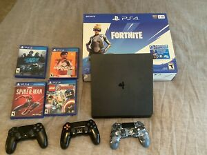 Sony PlayStation Slim 4 1TB Console, Controllers And Games