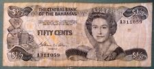 THE BAHAMAS CENTRAL BANK  1/2  DOLLAR 50 CENTS NOTE FROM 1984, P 42, QUEEN