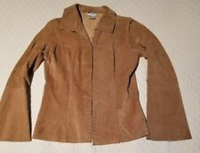 Wet Seal Size M Brown Tan Suede Boho Hippie Retro 70s Jacket Flare Sleeves