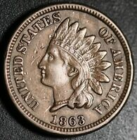 1863 INDIAN HEAD CENT - With LIBERTY & DIAMONDS - XF EF