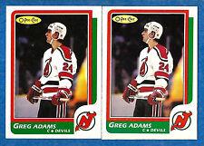 1986-87 O-Pee-Chee Regular & Blank Back GREG ADAMS (ex-mt) New Jersey Rookie