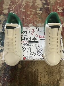 DOLCE & GABBANA Shoes Sneakers White/green Leather Logo Print Mens EU40 / US7/ 6