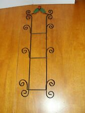 Vintage Ornate Black Wire Metal 3 Plate Photo Holder Rack Wall Hanging - EUC