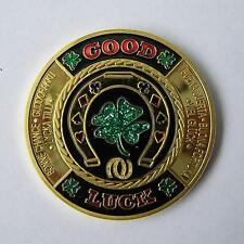 Good Luck Brass Poker Card Guard