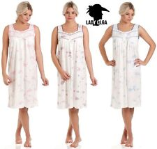 ea6b813dd7 Ladies Floral Jersey Sleeveless Nightie Nightdress 10 to Plus Size 24 14-16  Blue