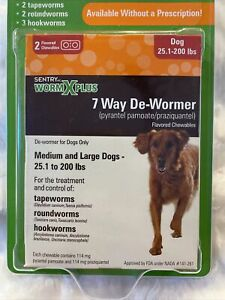 Sentry Worm X Plus 7 Way De-Wormer 2 Flavored Chewables For Medium And Large