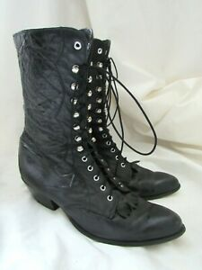 Vintage Laredo Women's black Leather Lace Up Granny Roper Boots Western 8 1/2 M