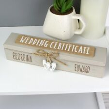 Personalised Wooden Wedding Day Certificate Holder Anniversary Wedding Gift