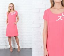 Vintage 70s Pink Dress Mod Linen Silk White Abstract A Line Short Sleeve Small S