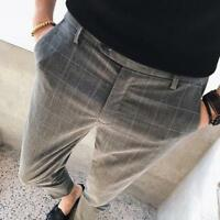 Mens Plaids Check Slim Fit Cropped Pants Casual Trousers Skinny Tapered Formal U