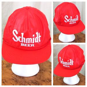 Vintage 1980's Schmidt Beer Retro Breweriana Graphic Nylon Snap Back Hat Red