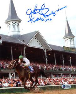 JERRY BAILEY SIGNED 8x10 PHOTO + KENTUCKY DERBY WINNER 1996 BECKETT BAS