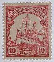 Travelstamps: GERMAN NEW GUINEA STAMPS Kaiser's Yacht, Mint Og Hinged 10 Pfennig
