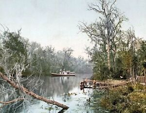 """1898 Steamboat on the Rice River, Florida Old Photo 8.5"""" x 11"""" Reprint"""