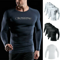Aquatic Mens Long Sleeve Rash Guard Sun Protection Swim Surf Top Swimwear Shirts