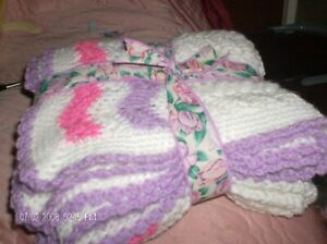 pink, lilac and white baby shawl