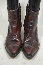 ACME MENS 9 EW BLACK CHERRY ANKLE SIDE ZIPPPER WESTERN ROPERS COWBOY BOOTS