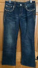 LA Idol USA Women's Jeans Sz 9 31x29 Embellished Flap Pockets Dark Wash Jeans