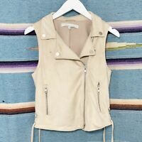 Lovers + Friends Moto Vest Sz Small Tan Faux Suede Asymmetrical Lace Up Revolve