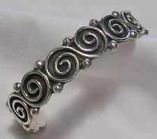 "ARTISAN STERLING SILVER SPIRAL S 15mm WIDE CUFF BRACELET 32gm UP TO 8"" WRIST"