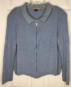 Women ST JOHN Blue Wool Blend Zip Front L/s Ribbed Cardigan Sweater Sz Large