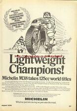 Michelin M38 Tyres Motorcycle 1976 Magazine Advert #2122