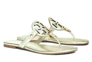 NIB Tory Burch Miller Sandal Metallic Leather Spark Gold Size US 9
