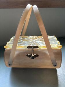Lucite Vtg Purse Handbag Etched Amber Gold Rod 3 Orb Clasp