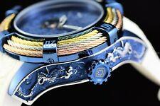 Invicta 54mm Bolt Tri-Cable Japanese Samurai Dragon Open Heart Auto Blue Watch