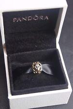 14K Yellow Gold Pandora Sliding Pierced Diamond Pattern Charm