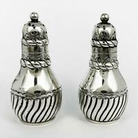 PAIR VICTORIAN STERLING SILVER PEPPERPOTS Birmingham 1884 Stokes & Ireland
