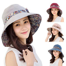 Women Summer Beach Bowknot Wide Brim Sun Hat Reversible Foldable Cap Novelty