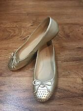 COACH Doreen Metallic Gold Ballet Flats Studded Cap Toe Sz. 7