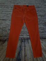 Adriano Goldschmied Women's Size 26R Orange Corduroy Stevie Ankle Slim Straight