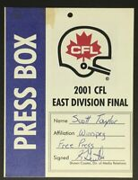 2001 CFL Football Press Box Pass East Division Final Winnipeg Vintage Media