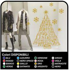 Albero di natale adesivo per vetrina negozio Merry Christmas and Happy New Year