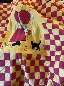 Vintage handmade quilt Bonnet Girl  full size hand quilting applique yellow red