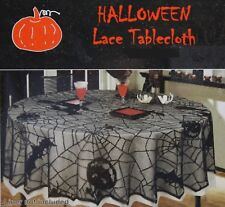 Halloween Black Lace with Pumpkin Spider 52x70 Oblong Tablecloth NIP