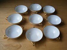 9 Pcs Antique T&V Limoges France Bouillon Soup Cream Bowls White Gold Split Hand