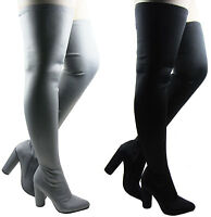 NEW LADIES WOMEN LYCRA STRETCHY OVER THE KNEE THIGH HIGH BLOCK HEEL BOOT SIZE3-8